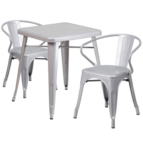 Wholesale 23.75'' Square Silver Metal Indoor-Outdoor Table Set with 2 Arm Chairs