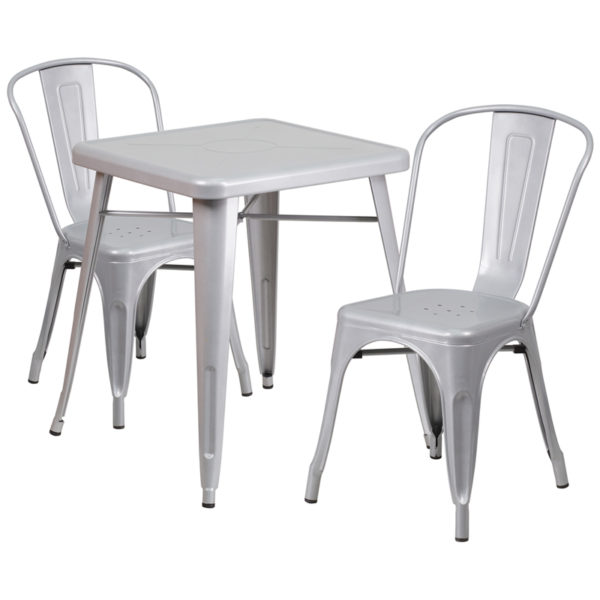 Wholesale 23.75'' Square Silver Metal Indoor-Outdoor Table Set with 2 Stack Chairs