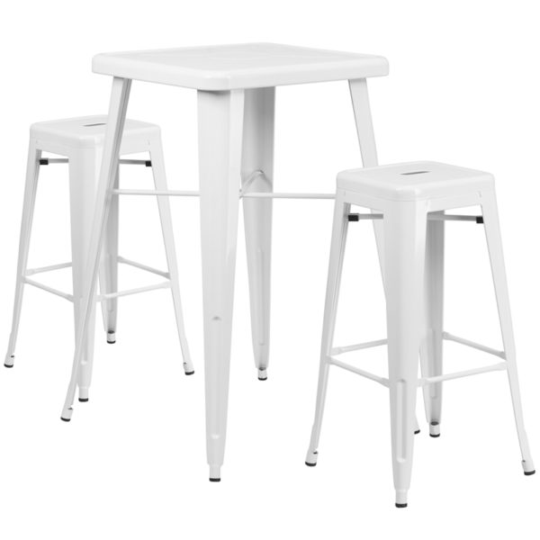 Lowest Price 23.75'' Square White Metal Indoor-Outdoor Bar Table Set with 2 Square Seat Backless Stools