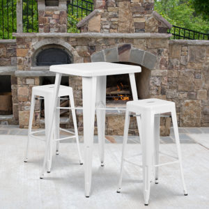 Wholesale 23.75'' Square White Metal Indoor-Outdoor Bar Table Set with 2 Square Seat Backless Stools
