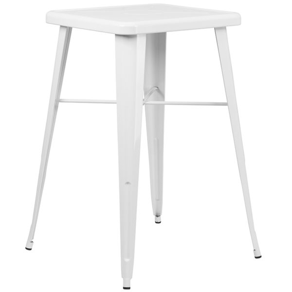 Contemporary Style Bar Table and Stack Stool Set 23.75SQ White Metal Bar Set