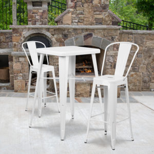 Wholesale 23.75'' Square White Metal Indoor-Outdoor Bar Table Set with 2 Stools with Backs