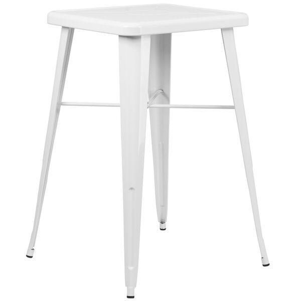 Bar Height Table and Stool Set 23.75SQ White Metal Bar Set
