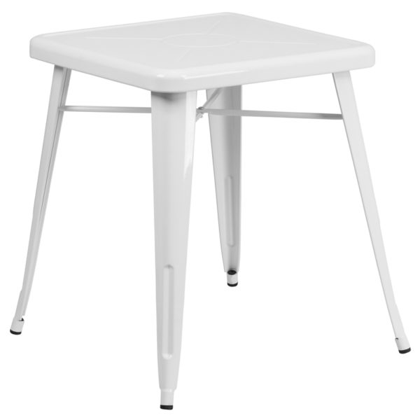 Wholesale 23.75'' Square White Metal Indoor-Outdoor Table