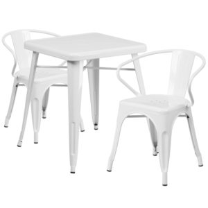Wholesale 23.75'' Square White Metal Indoor-Outdoor Table Set with 2 Arm Chairs