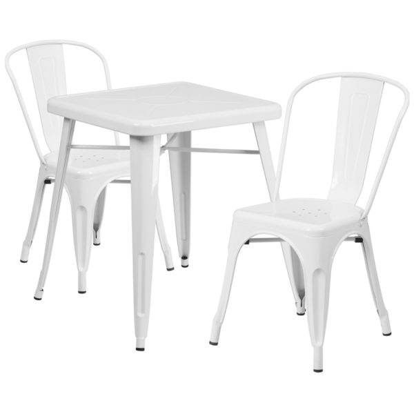 Wholesale 23.75'' Square White Metal Indoor-Outdoor Table Set with 2 Stack Chairs
