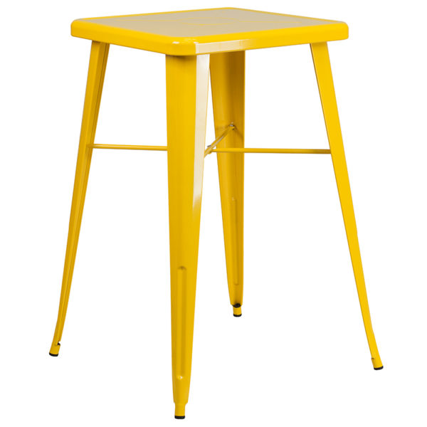 Contemporary Style Bar Table and Stack Stool Set 23.75SQ Yellow Metal Bar Set
