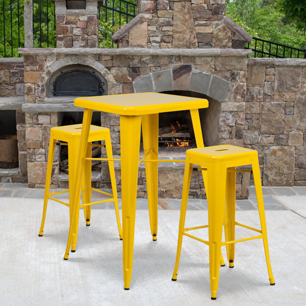Wholesale 23.75'' Square Yellow Metal Indoor-Outdoor Bar Table Set with 2 Square Seat Backless Stools