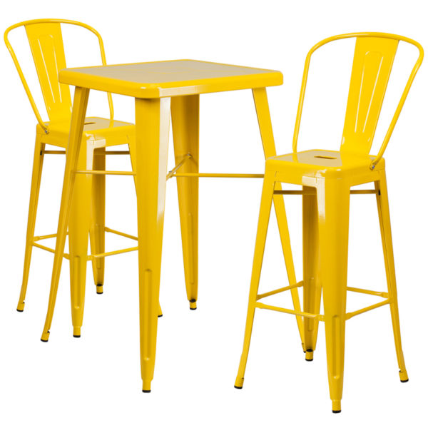 Lowest Price 23.75'' Square Yellow Metal Indoor-Outdoor Bar Table Set with 2 Stools with Backs