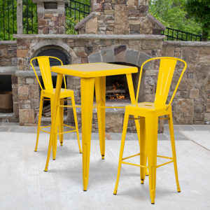 Wholesale 23.75'' Square Yellow Metal Indoor-Outdoor Bar Table Set with 2 Stools with Backs