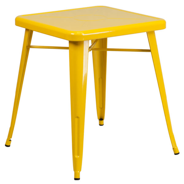 Wholesale 23.75'' Square Yellow Metal Indoor-Outdoor Table