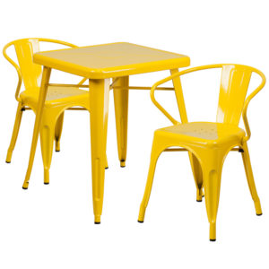 Wholesale 23.75'' Square Yellow Metal Indoor-Outdoor Table Set with 2 Arm Chairs