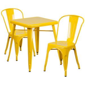 Wholesale 23.75'' Square Yellow Metal Indoor-Outdoor Table Set with 2 Stack Chairs