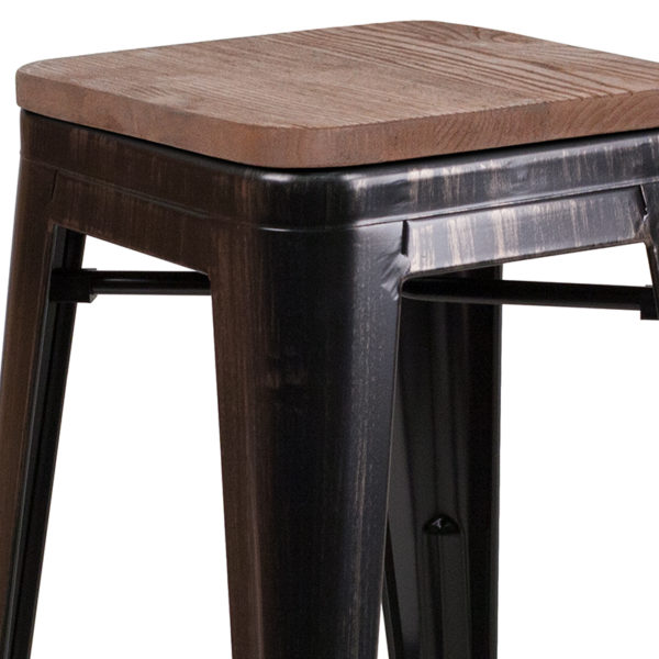"Lowest Price 24"" High Backless Black-Antique Gold Metal Counter Height Stool with Square Wood Seat"