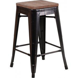 "Wholesale 24"" High Backless Black-Antique Gold Metal Counter Height Stool with Square Wood Seat"