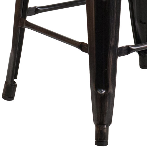 "Stackable Industrial Style Modern Stool 24"" Aged Black NoBack Stool"