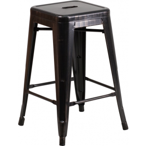 Wholesale 24'' High Backless Black-Antique Gold Metal Indoor-Outdoor Counter Height Stool with Square Seat