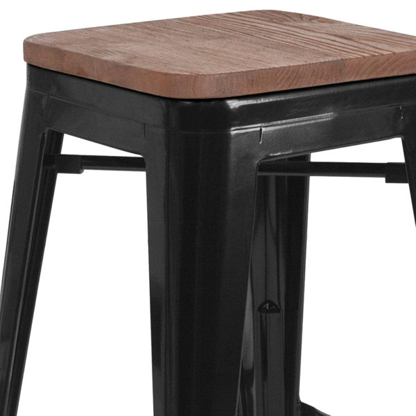 """Lowest Price 24"""" High Backless Black Metal Counter Height Stool with Square Wood Seat"""
