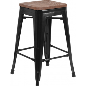 "Wholesale 24"" High Backless Black Metal Counter Height Stool with Square Wood Seat"