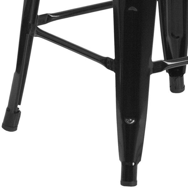 "Stackable Industrial Style Modern Stool 24"" Black Backless Metal Stool"