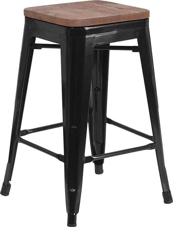 """Wholesale 24"""" High Backless Black Metal Counter Height Stool with Square Wood Seat"""