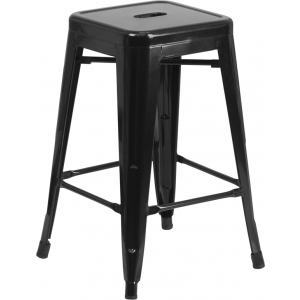 Wholesale 24'' High Backless Black Metal Indoor-Outdoor Counter Height Stool with Square Seat