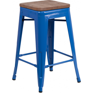 "Wholesale 24"" High Backless Blue Metal Counter Height Stool with Square Wood Seat"