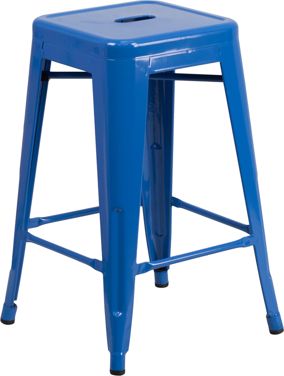 Wholesale 24'' High Backless Blue Metal Indoor-Outdoor Counter Height Stool with Square Seat