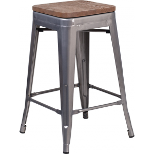 "Wholesale 24"" High Backless Clear Coated Metal Counter Height Stool with Square Wood Seat"