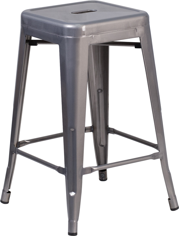 Wholesale 24'' High Backless Clear Coated Metal Indoor Counter Height Stool with Square Seat