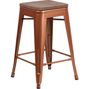 "Wholesale 24"" High Backless Copper Counter Height Stool with Square Wood Seat"