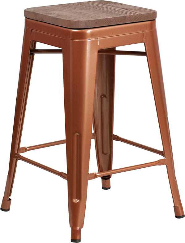"""Wholesale 24"""" High Backless Copper Counter Height Stool with Square Wood Seat"""