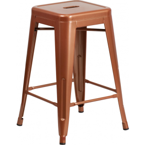 Wholesale 24'' High Backless Copper Indoor-Outdoor Counter Height Stool