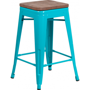 "Wholesale 24"" High Backless Crystal Teal-Blue Counter Height Stool with Square Wood Seat"