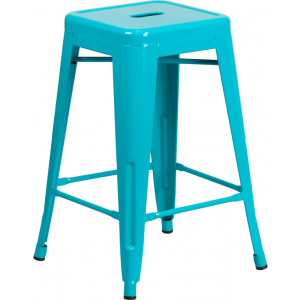 Wholesale 24'' High Backless Crystal Teal-Blue Indoor-Outdoor Counter Height Stool