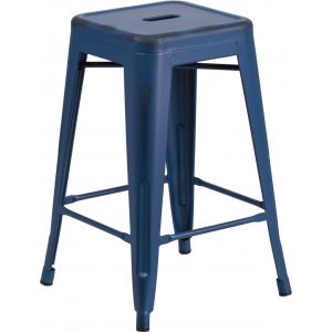 Wholesale 24'' High Backless Distressed Antique Blue Metal Indoor-Outdoor Counter Height Stool