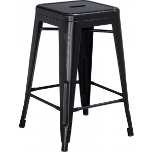 Wholesale 24'' High Backless Distressed Black Metal Indoor-Outdoor Counter Height Stool