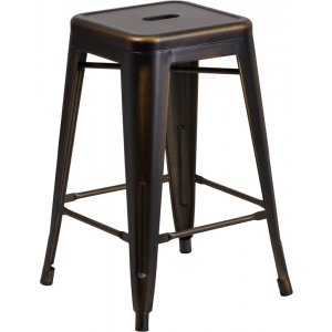 Wholesale 24'' High Backless Distressed Copper Metal Indoor-Outdoor Counter Height Stool