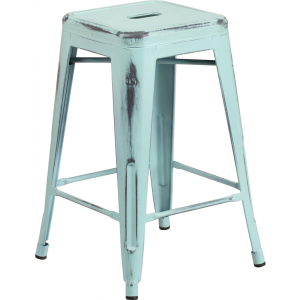 Wholesale 24'' High Backless Distressed Green-Blue Metal Indoor-Outdoor Counter Height Stool