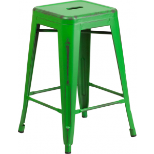 Wholesale 24'' High Backless Distressed Green Metal Indoor-Outdoor Counter Height Stool