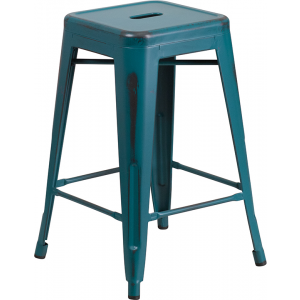 Wholesale 24'' High Backless Distressed Kelly Blue-Teal Metal Indoor-Outdoor Counter Height Stool