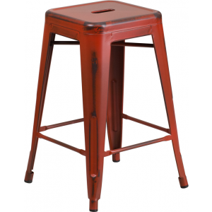 Wholesale 24'' High Backless Distressed Kelly Red Metal Indoor-Outdoor Counter Height Stool