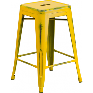 Wholesale 24'' High Backless Distressed Yellow Metal Indoor-Outdoor Counter Height Stool