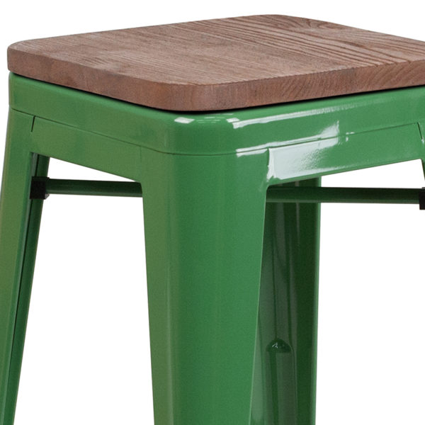 """Lowest Price 24"""" High Backless Green Metal Counter Height Stool with Square Wood Seat"""