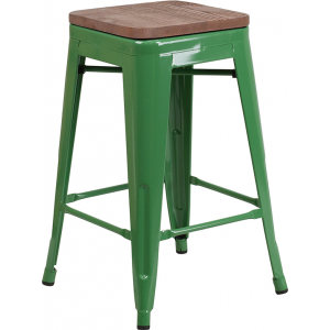 "Wholesale 24"" High Backless Green Metal Counter Height Stool with Square Wood Seat"