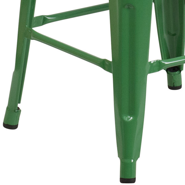 """Stackable Industrial Style Modern Stool 24"""" Green Metal Counter Stool"""