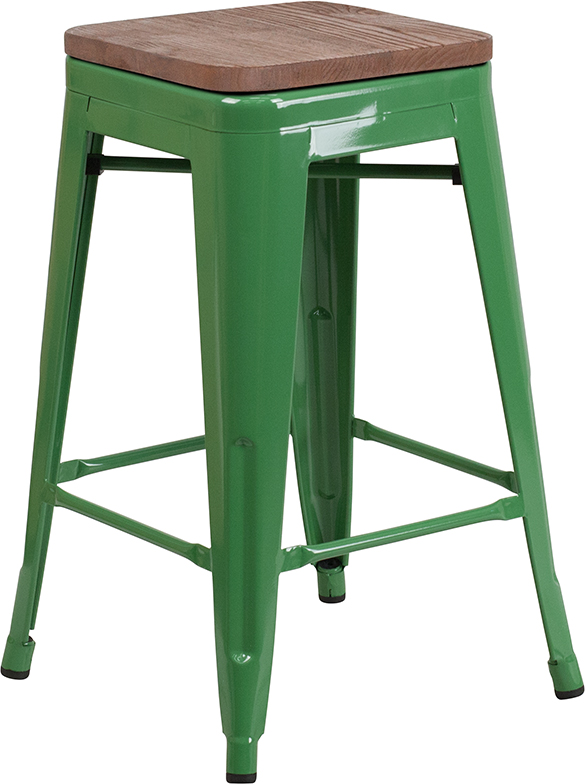 """Wholesale 24"""" High Backless Green Metal Counter Height Stool with Square Wood Seat"""