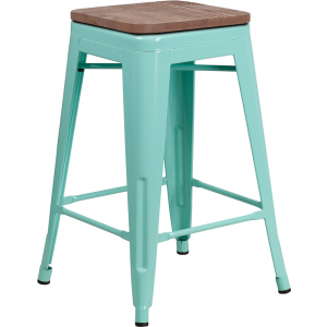 "Wholesale 24"" High Backless Mint Green Counter Height Stool with Square Wood Seat"