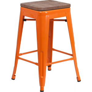 "Wholesale 24"" High Backless Orange Metal Counter Height Stool with Square Wood Seat"