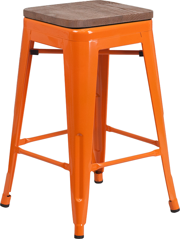 """Wholesale 24"""" High Backless Orange Metal Counter Height Stool with Square Wood Seat"""